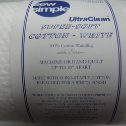 2 Metres White Cotton Wadding